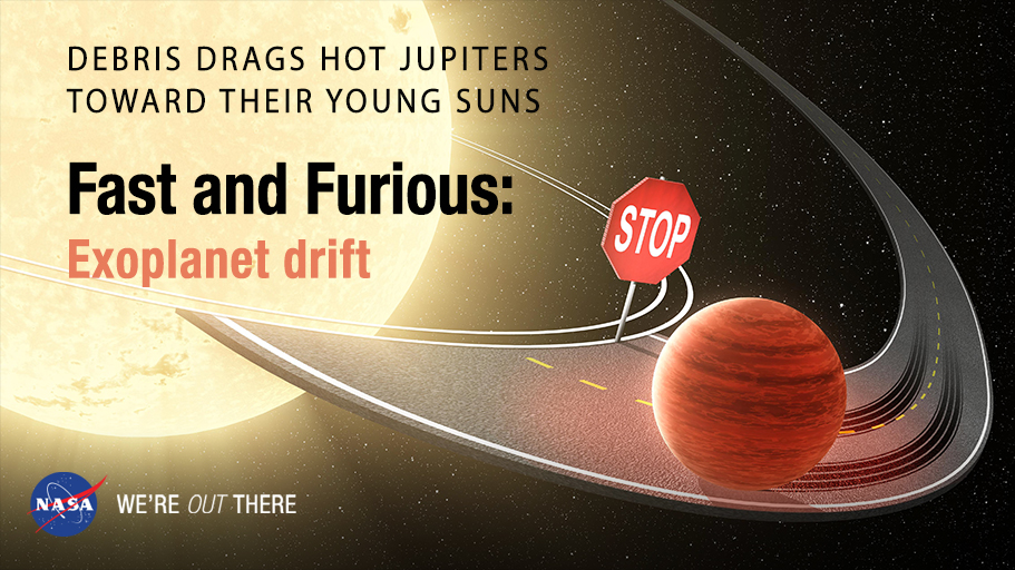 A hot Jupiter races toward its star, only to be halted by a stop sign, symbolizing drag.