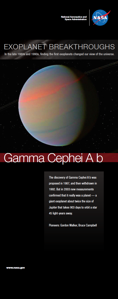 An infographic depicting one of the first exoplanets discovered.
