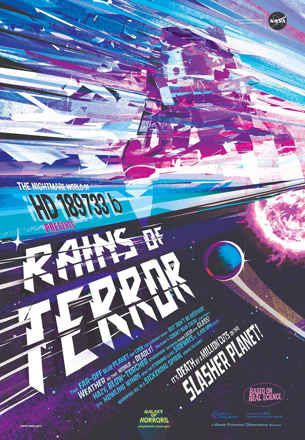 "A poster done in the style of a vintage poster for a horror movie. Reading ""Rains of Terror"" It's death by a million cuts on this slasher planet. Jagged edges of glass can be seen battering a spacecraft on this alien world."