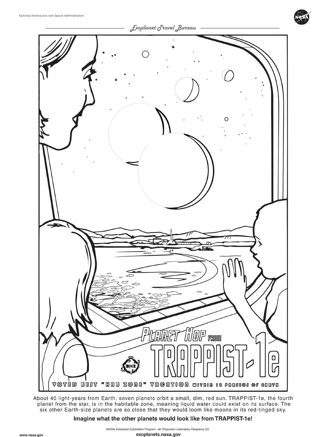 A downloadable version of a coloring page for TRAPPIST-1e.