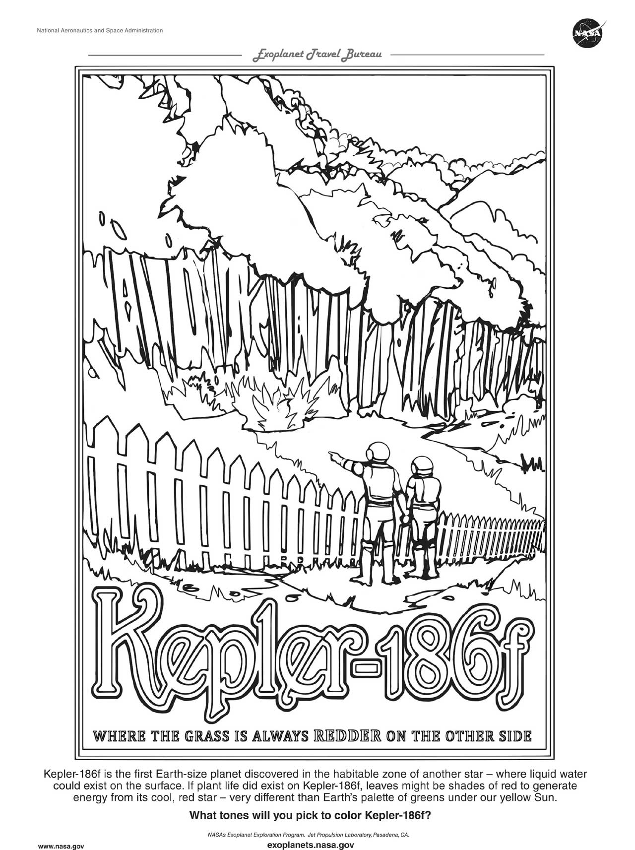 A downloadable version of a coloring page for the Kepler-16b exoplanet travel poster.