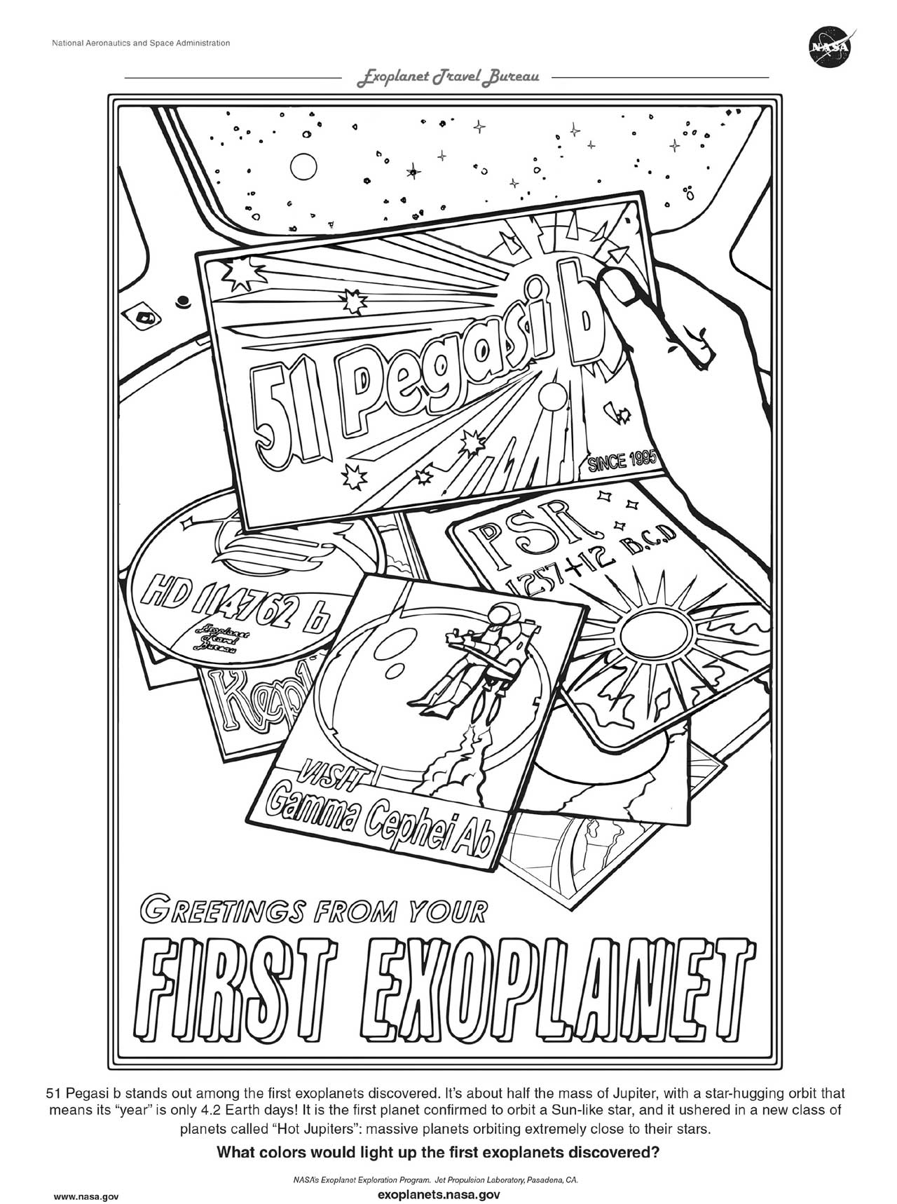 Add your touch to the coloring page for 51 Pegasi b based on our popular Exoplanet Travel Bureau poster that shows various post cards for first exoplanets discovered.