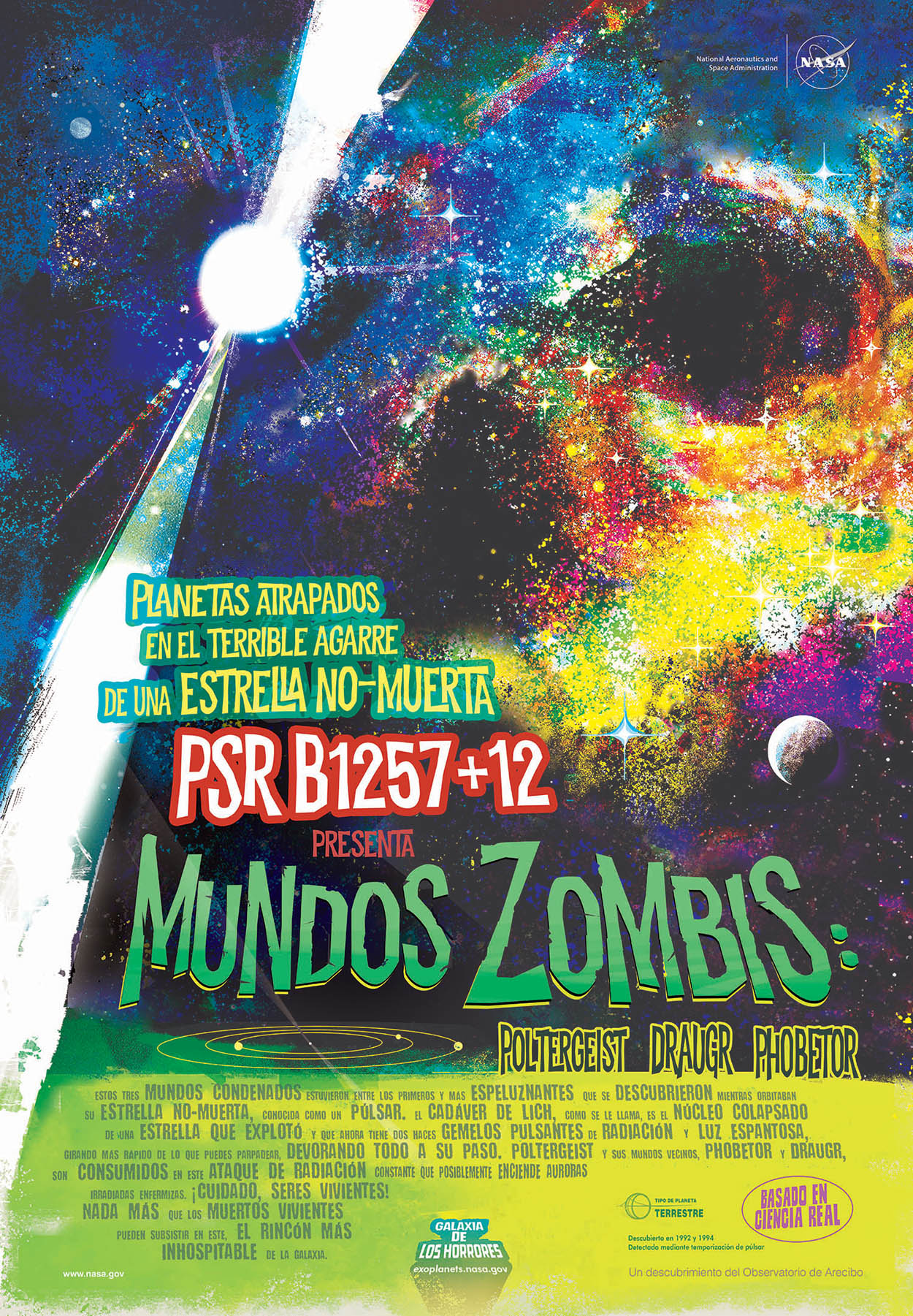 A poster done in the style of movie posters from the 1950s and 1960s showing the zombie worlds with a colorful nebula and a planet being blasted by twin beams of radiation by the pulsar host star. The overall image creates the look of a scary skull.