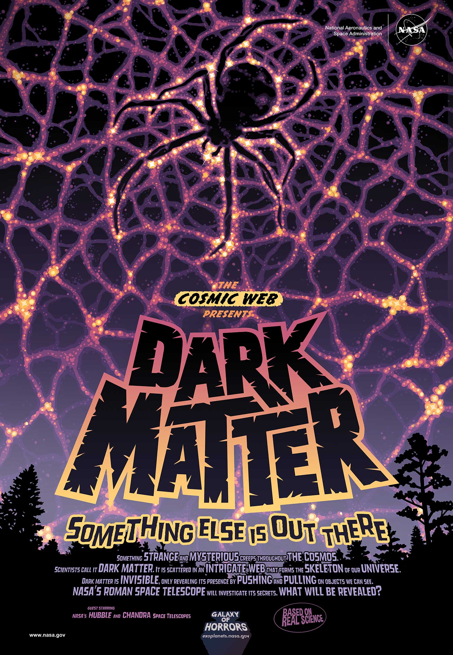 A luminous web is visible in the night sky beyond a treeline. Scattered between the nodes of the web is darkness, signifying the presence of dark matter. In the center of the web, the darkness melds to form the shape of a spider.