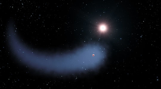 """Behemoth"" Bleeding Atmosphere Around a Warm Exoplanet"