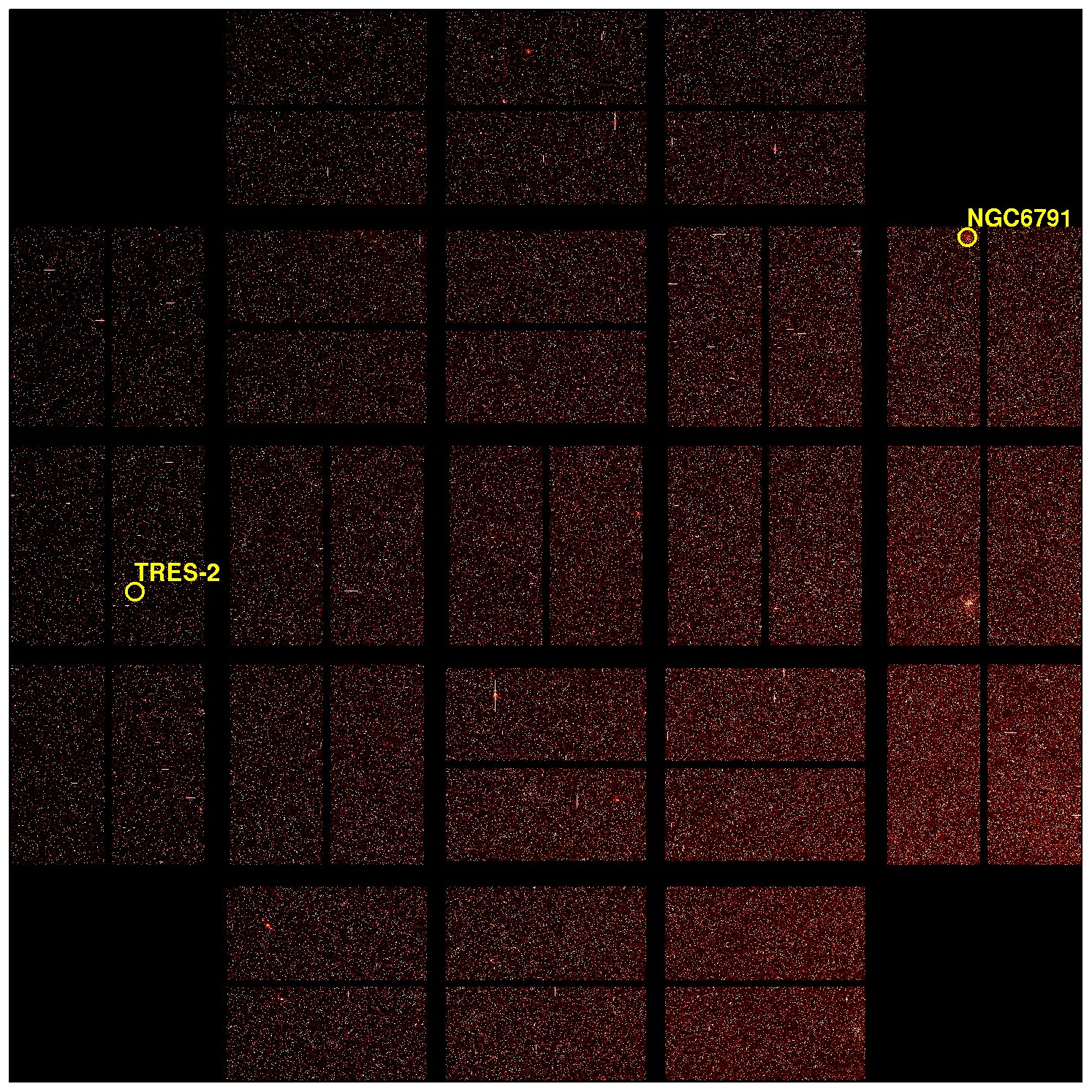 Full Focal Plane Image (First Light for Kepler Photometer) with labels
