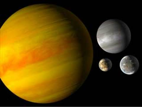 An infographic shows giant gas planet, a small, terrestrial planet, a planet bigger than Earth, but smaller than Newptune.