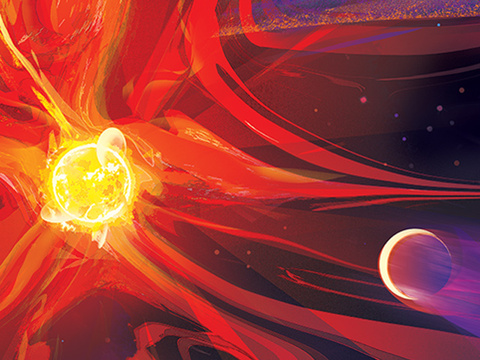 Giant flares from a giant, bright young star in oranges, reds and bright yellow burst from the star, affecting a nearby planet. You can see the planet's atmosphere being blasted away by the energy.